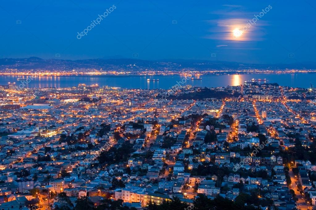 Full Moon Rising Over San Francisco