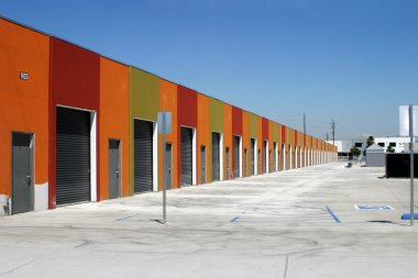 Garages lined in a row
