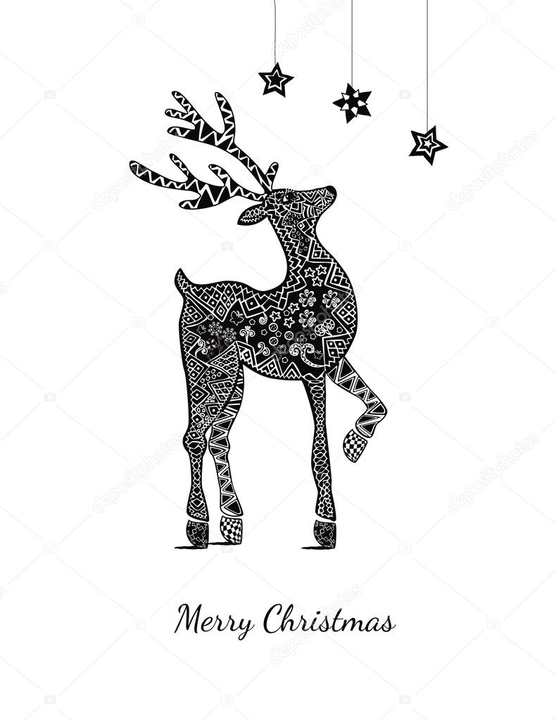 Christmas card with deer on white — Stock Vector © OliaFedorovsky ...