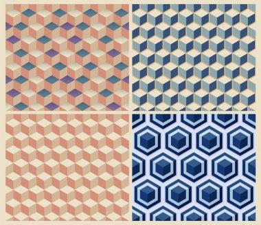 Seamless geometric cube background set.
