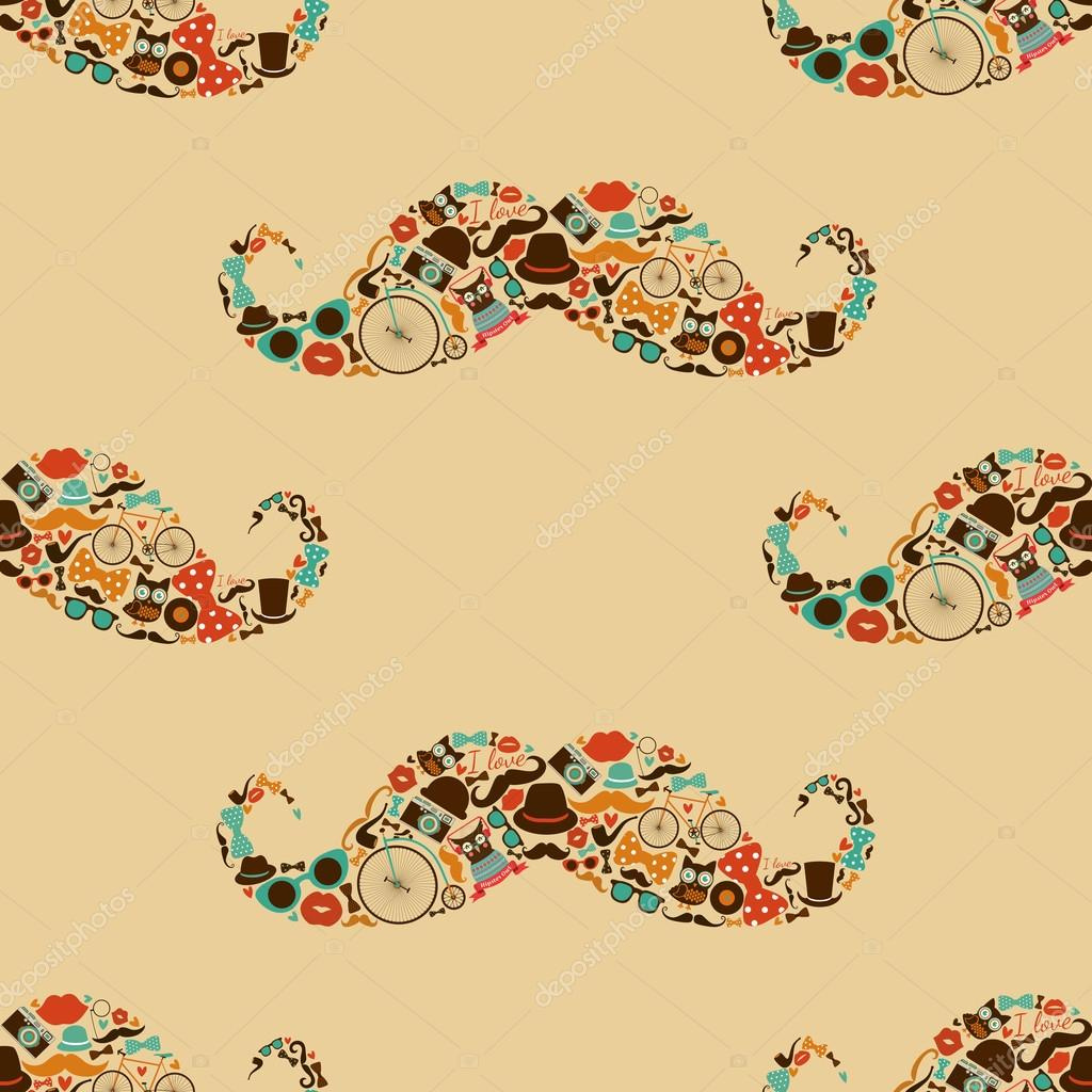 Vector Hipster Mustache Colorful Seamless Pattern Background By OliaFedorovsky