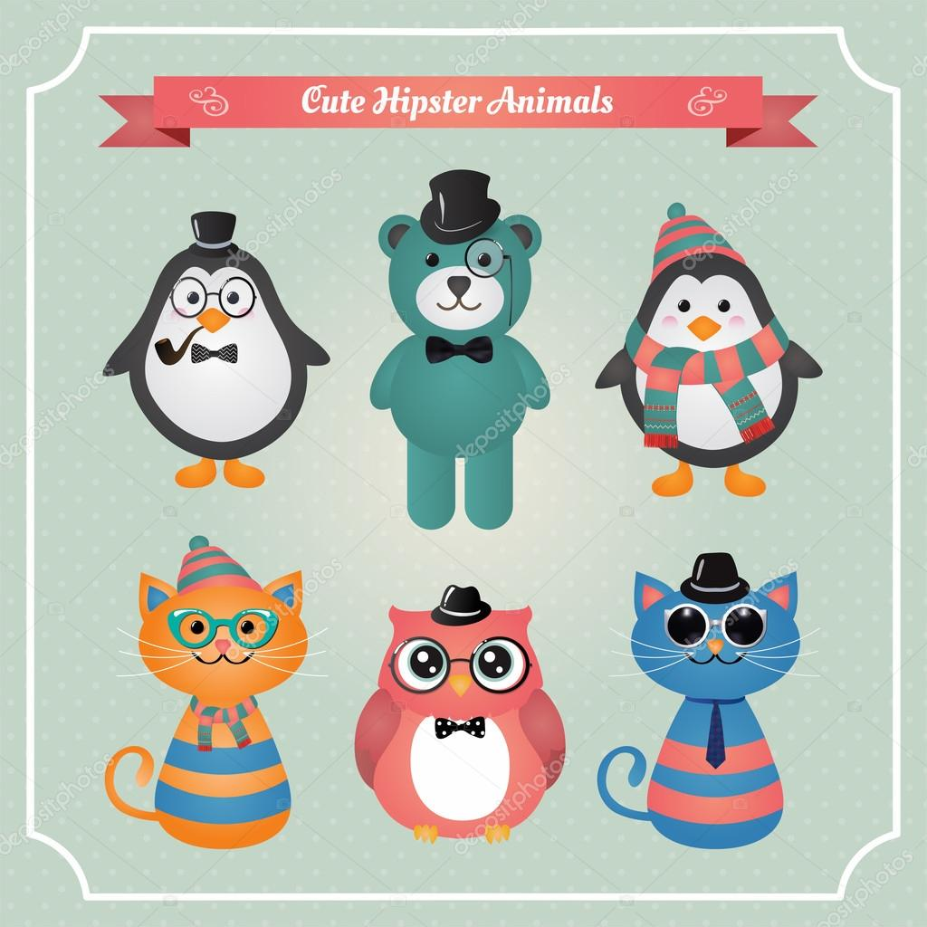 Cute fashion Hipster Animals & pets
