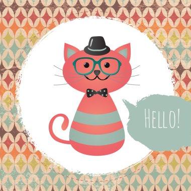 Hipster Cat in Textured Frame design illustration
