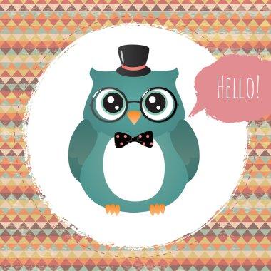 Hipster Owl in Textured Frame design illustration