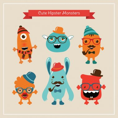 Vector Cute Retro Hipster Monsters Set