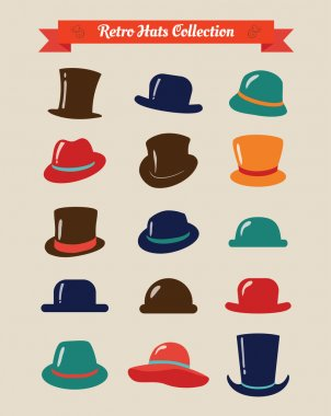 Hipster Retro Hats Vintage Icon Set