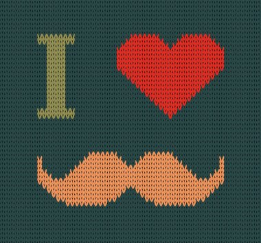 I Love Mustache Knitted Illustration