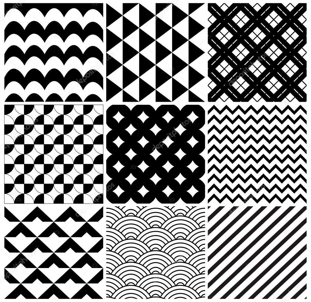 Vector fondo geométrico patrón conjunto — Vector de stock ...