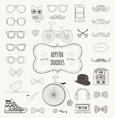 Hipster Retro Vintage Doodle Icon Set
