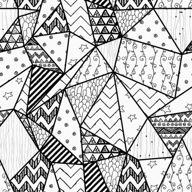 Black and White Geometric Hand-drawn Abstract Seamless Background Pattern with Polygons and Cute Patterns Inside Them. Vector Illustration. Pattern Swatch is Available clip art vector