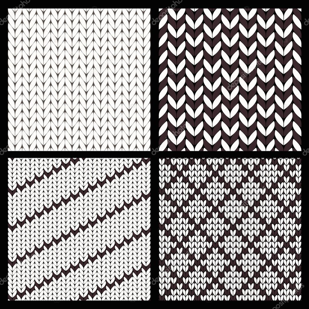 conjunto de cuatro patrones de tejido sin costuras — Archivo ...