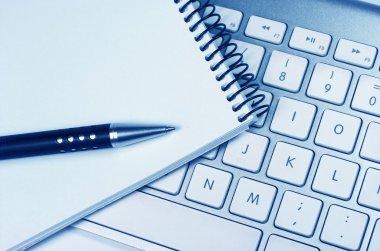 Computer keyboard. Idea. Notepad
