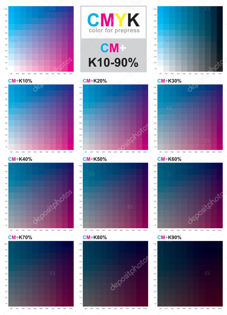 Cmyk Color Swatch Chart  Cyan And Magenta  Stock Vector  Sailom