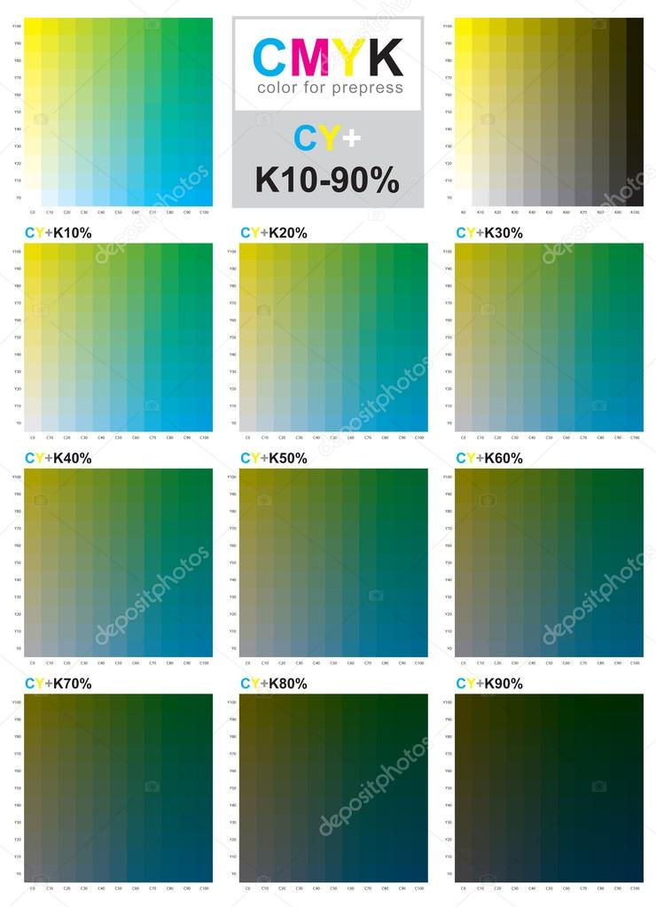 Cmyk Color Swatch Chart Cyan And Yellow Stock Vector Sailom