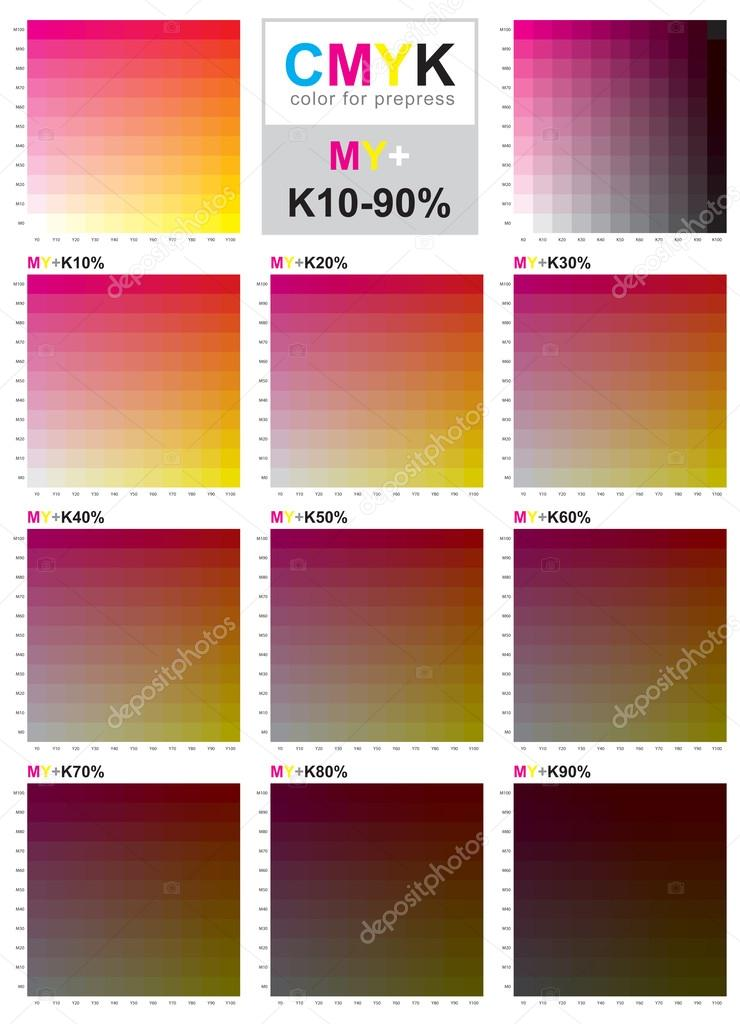Cmyk Color Swatch Chart  Magenta And Yellow  Stock Vector  Sailom