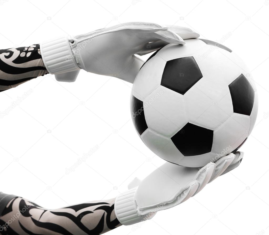 goalkeeper 39 s hands catching the soccer ball on white. Black Bedroom Furniture Sets. Home Design Ideas