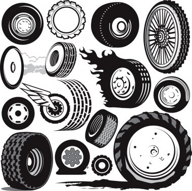 Clip are collection of various tires and wheels stock vector