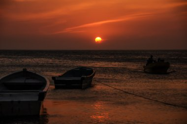 Boat Sunset at Colombian Sea Taganga. South America.