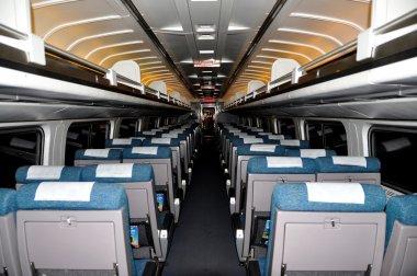 NYC: Interior of an AMTRAK Regional Passenger Train Coach