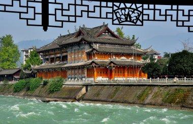 Dujiangyan, China: Tea House and Min River