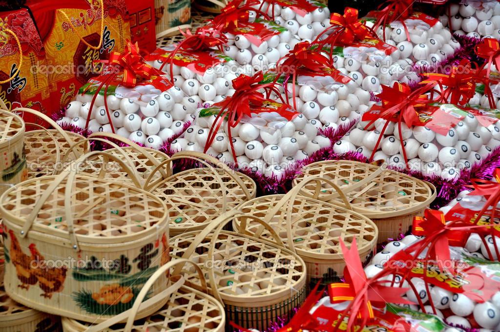 Pengzhou China Chinese New Year Gift Egg Baskets Stock