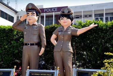 Pattaya, Thailand: Statues of Police Officers