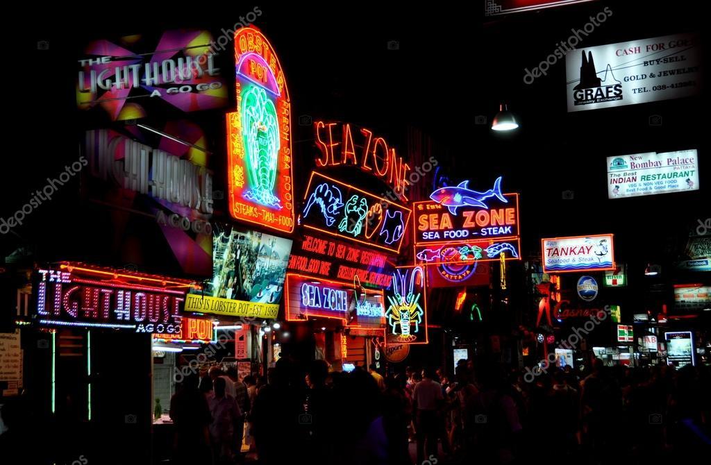 Pattaya, Thailand: Neon Signs on Night Walking Street ...
