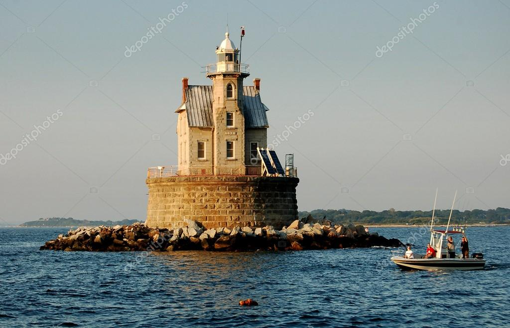 1878 race rock lighthouse in long island ny stock photo for Nys fishing license prices