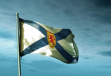 Nova Scotia (Canada) flag waving on the wind