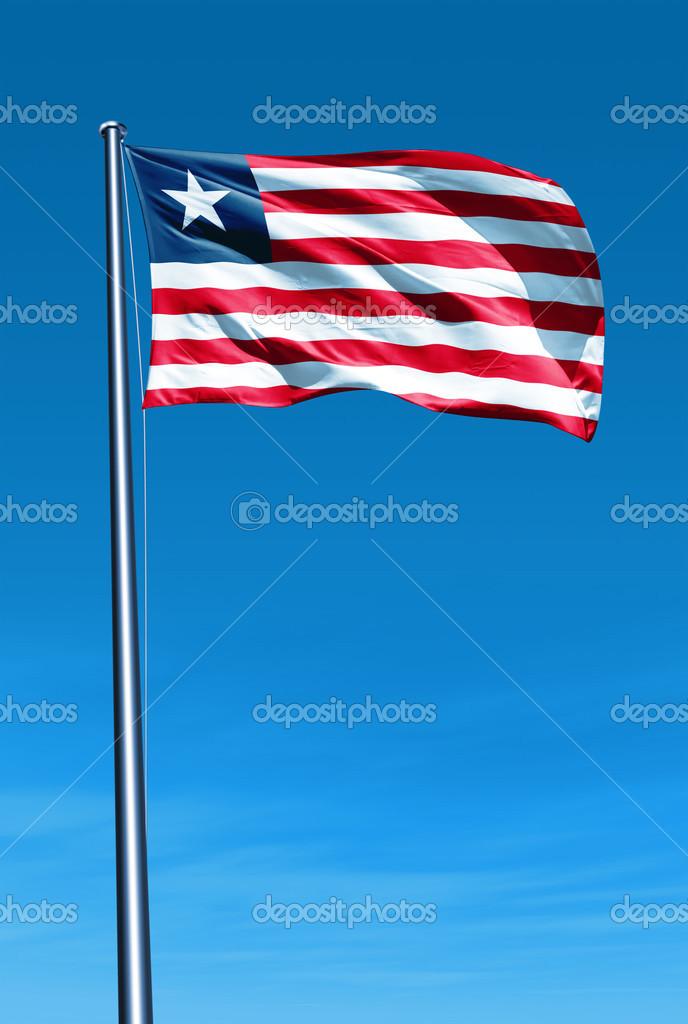 Liberia flag waving on the wind — Stock Photo © flogeljiri