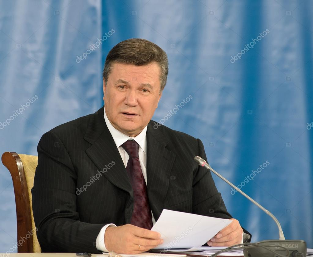 DONETSK, UKRAINE - OCT 18: The President of Ukraine Viktor Yanukovych at the II Ukrainian-Russian Interregional Economic Forum, October 18 2011, Donetsk, Ukrain