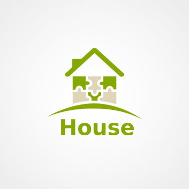 Green home icon on white background, puzzle house