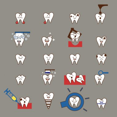 Dental collection, tooth icon