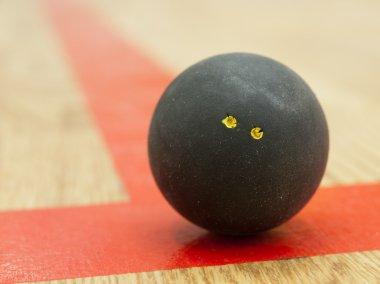 Black squash ball on t-lin