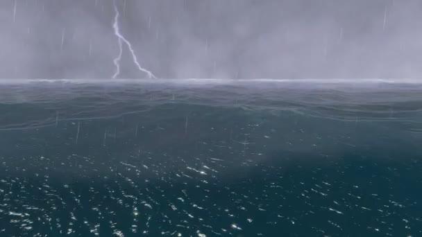 bouřlivý oceán s blesky. zvuk hromu.