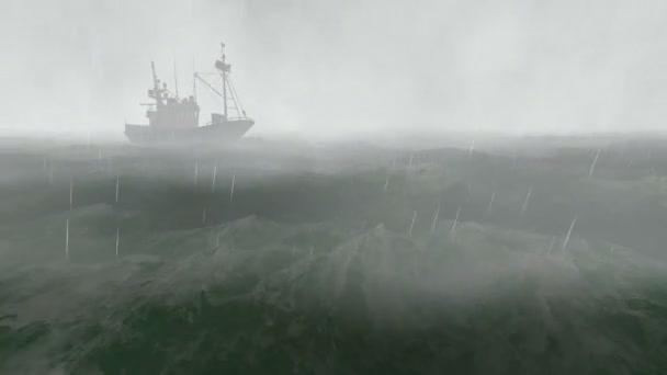 malé rybářské lodi v bouřlivé noci