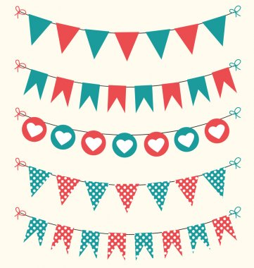 Retro bunting set red and green for scrapbook with hearts and polka dots