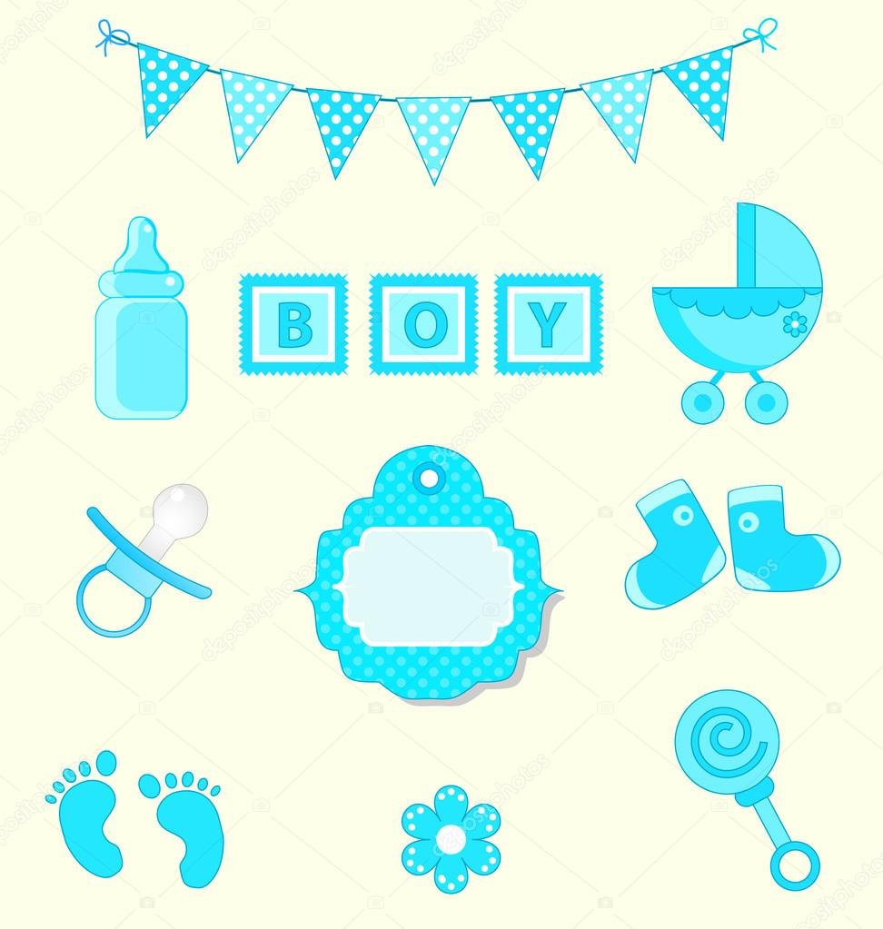 Conjunto de bebé niño de elemento de diseño de bloc de notas y bebé ducha  colores azules ilustración vectorial — Vector de Milana88 3bb209ac17b8