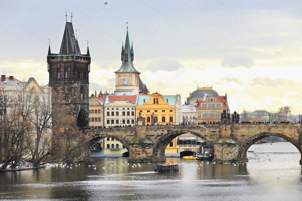 Фотообои Romantic View on the snowy Prague Old Town, Czech Republic