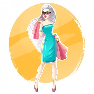 Beautiful blonde girl with shopping bags and gifts. Happy and smiling woman. Shopaholic