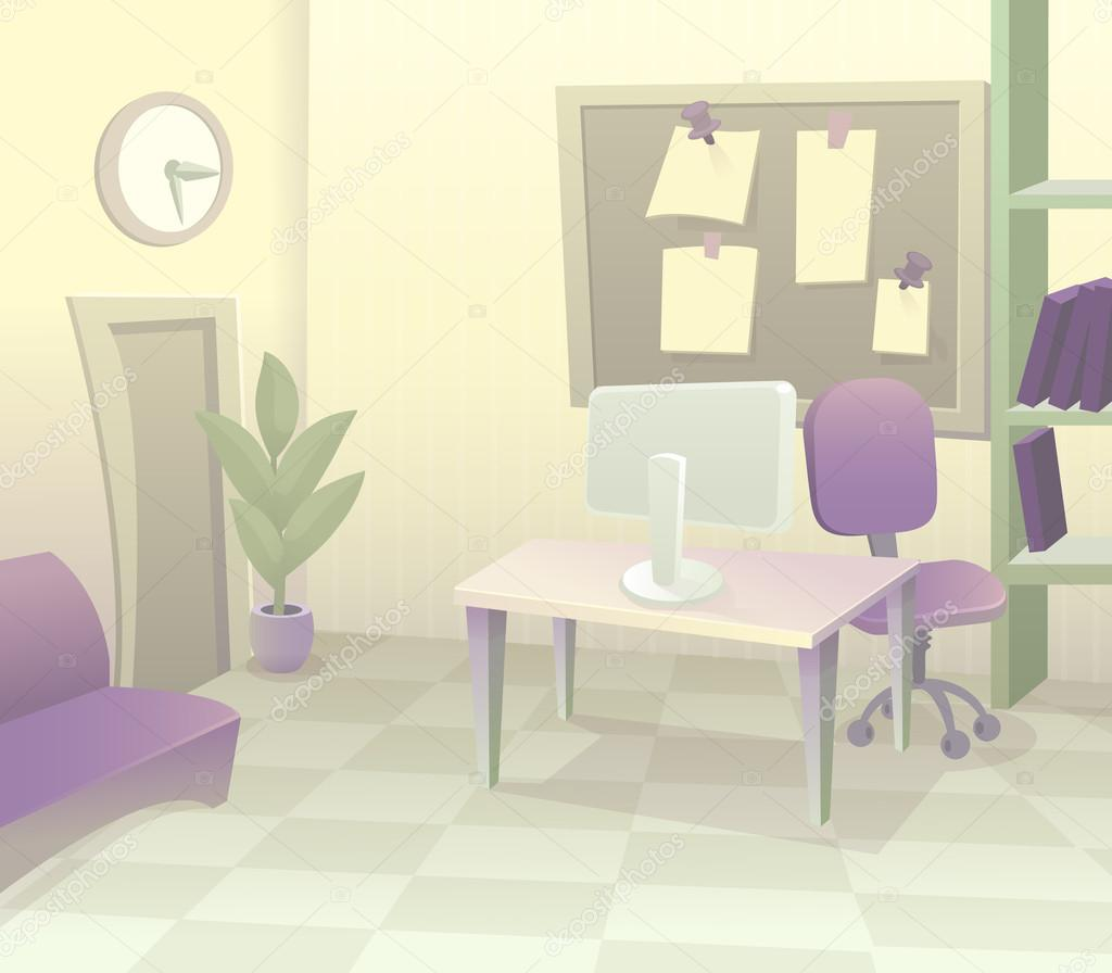 Moderne Büro Interieur Mit Designer Schreibtisch Im Flachen Design. Moderne  Business Arbeitsbereich Im Büro Mit Pastell Farbe Cartoon U2014 Vektor Von ...