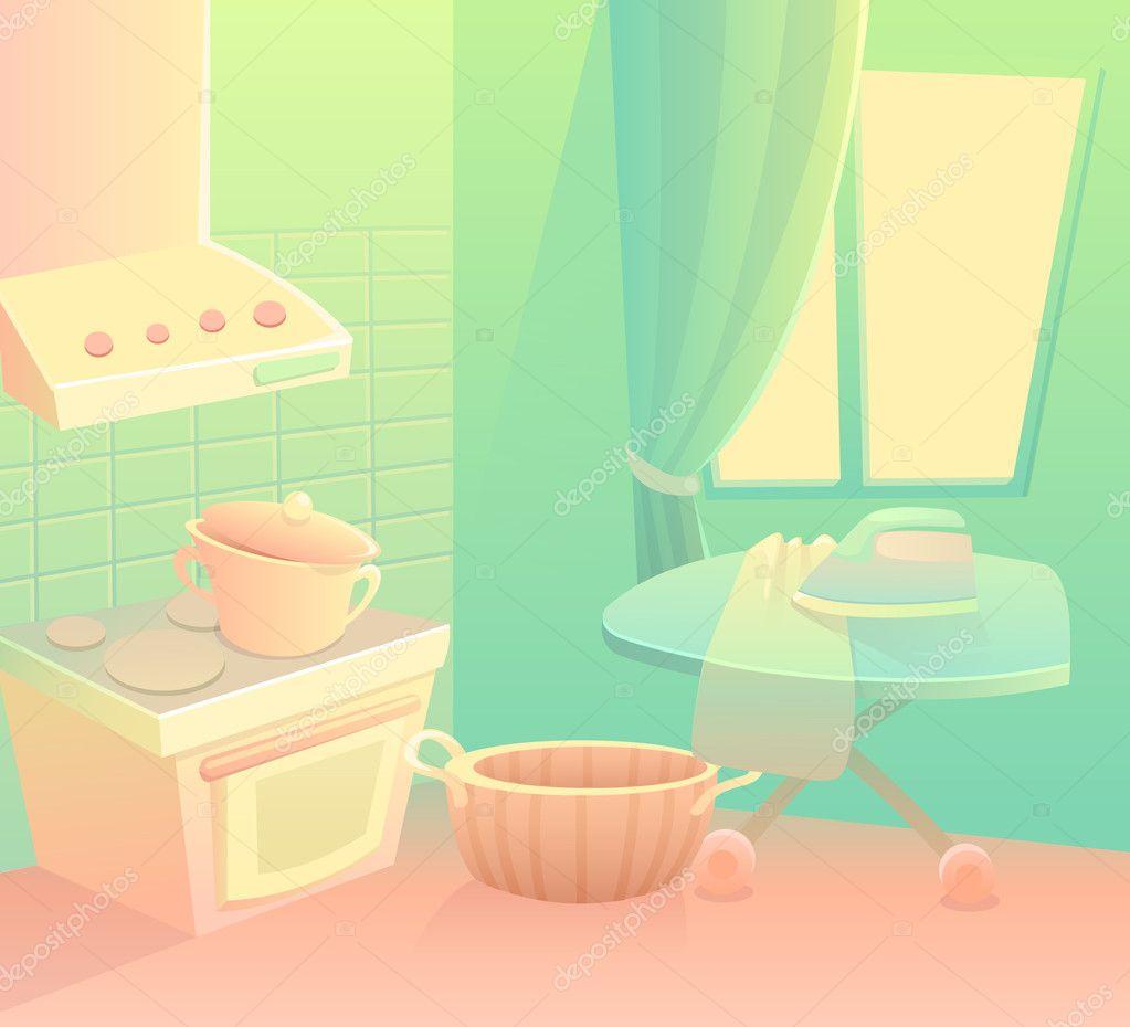 Vector Kitchen Background. Cartoon Kitchen In The House