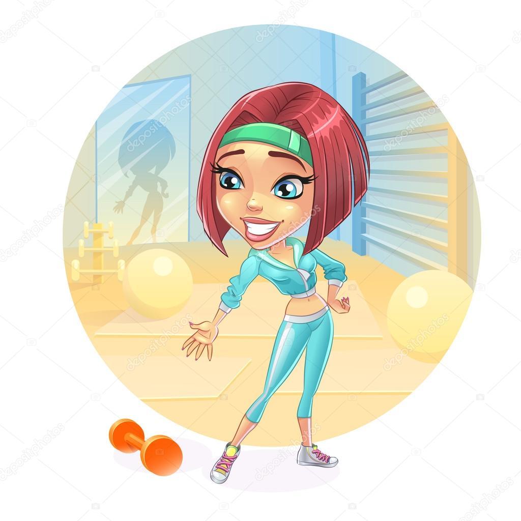 cartoon woman at the gym doing fitness aerobics yoga trains