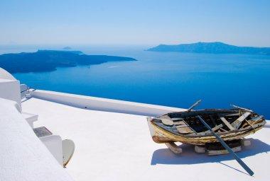 Abandoned boat in Santorini, Greek Islands