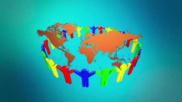 lidé drží ruce po celém světě mapa 3d