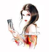 Tmavovláska pomocí dotykový chytrý telefon