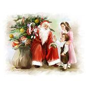 bambini e Babbo Natale vicino allalbero di Capodanno