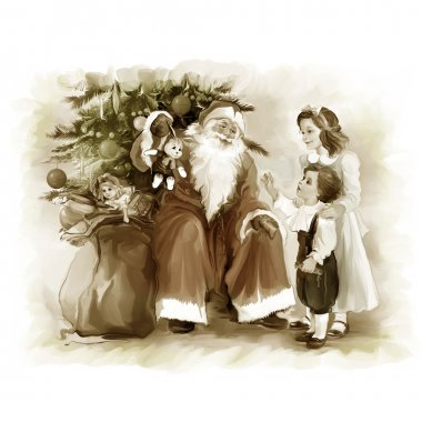 Children and santa Claus near the new year tree