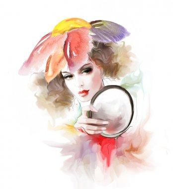 Beautiful elegance woman with mirror