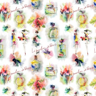 Perfume bottles and flowers